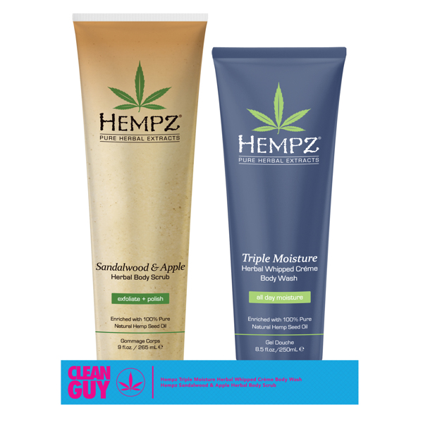 Image of   Hempz Clean Guy - Triple Moisture Wash + Sandalwood & Apple Scrub