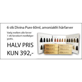 6 stk Divina Pure farver + gratis farvekort