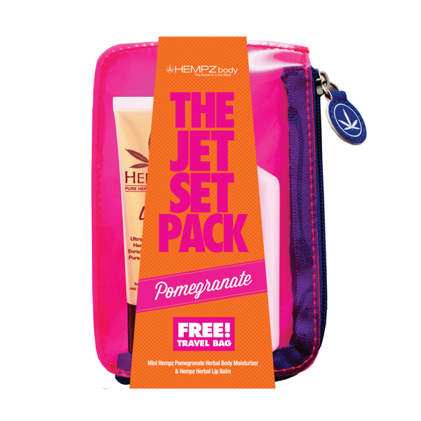 "Image of   Hempz ""Jet Set Pack"" - Pomegranate Body Moisturizer 65ml + lip balm + taske"