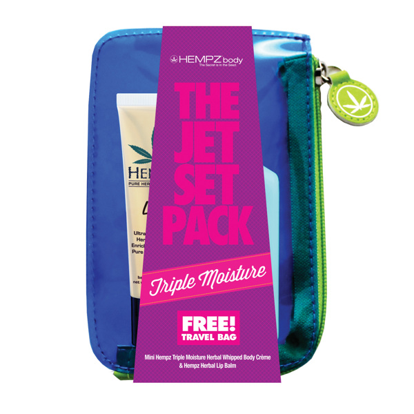 "Image of   Hempz ""Jet Set Pack"" - Triple Body Moisturizer 65ml + lip balm + bag"